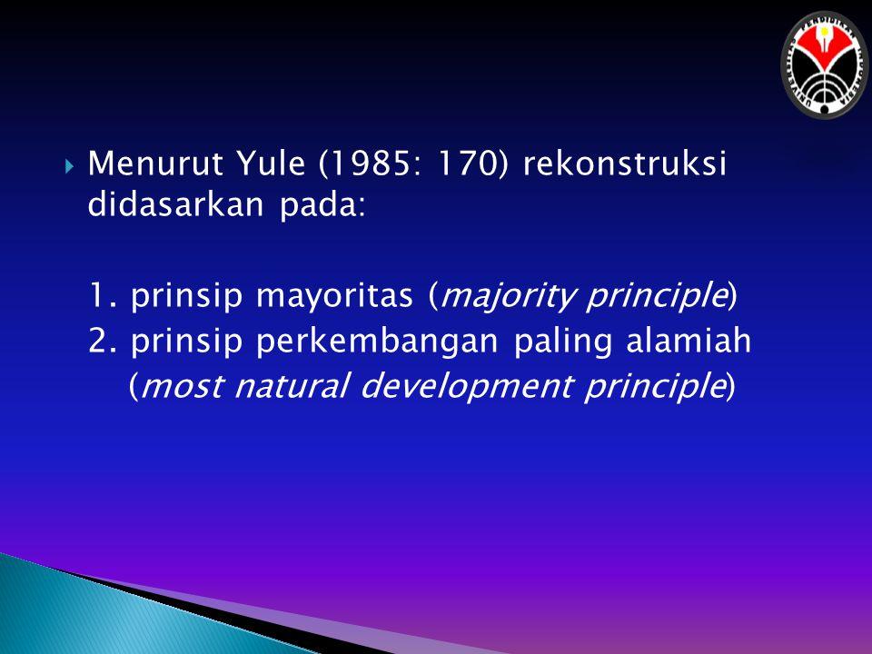 Menurut Yule (1985: 170) rekonstruksi didasarkan pada:
