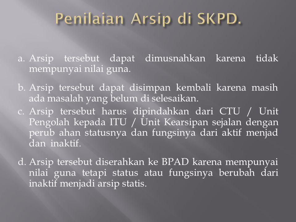 Penilaian Arsip di SKPD.