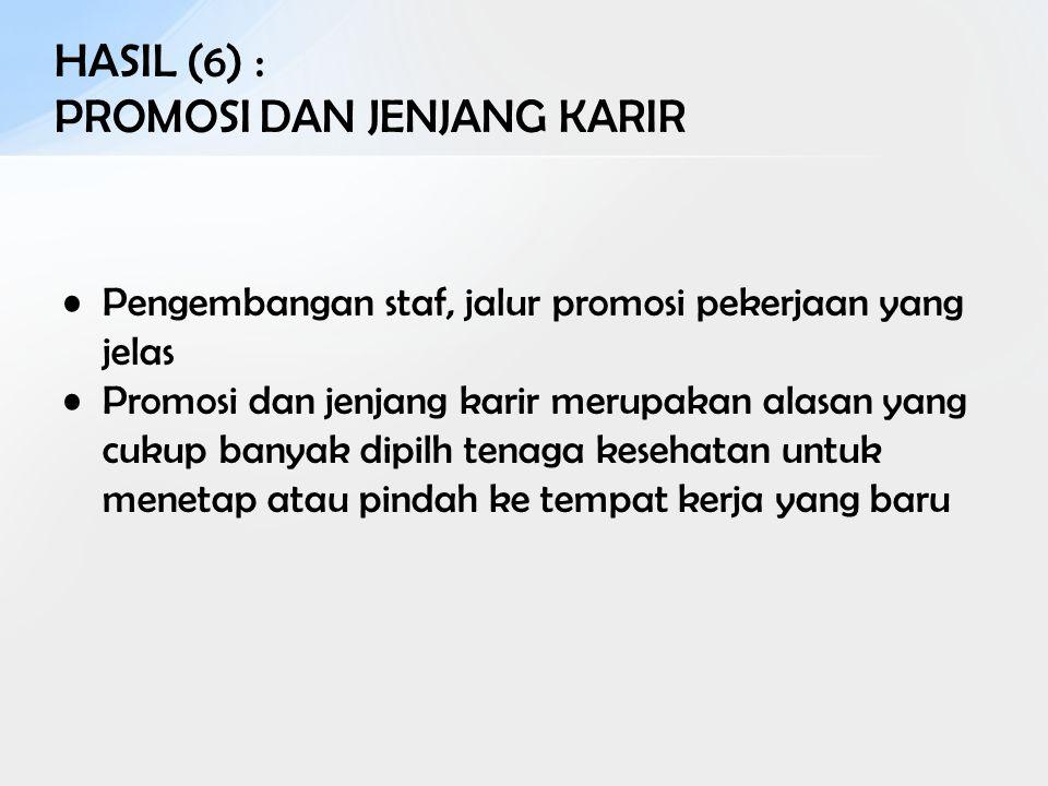 HASIL (6) : PROMOSI DAN JENJANG KARIR