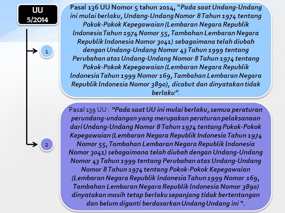 Pasal 136 UU Nomor 5 tahun 2014, Pada saat Undang-Undang ini mulai berlaku, Undang-Undang Nomor 8 Tahun 1974 tentang Pokok-Pokok Kepegawaian (Lembaran Negara Republik lndonesia Tahun 1974 Nomor 55, Tambahan Lembaran Negara Republik lndonesia Nomor 3041) sebagaimana telah diubah dengan Undang-Undang Nomor 43 Tahun 1999 tentang Perubahan atas Undang-Undang Nomor 8 Tahun 1974 tentang Pokok-Pokok Kepegawaian (Lembaran Negara Republik lndonesia Tahun 1999 Nomor 169, Tambahan Lembaran Negara Republik lndonesia Nomor 3890), dicabut dan dinyatakan tidak berlaku .