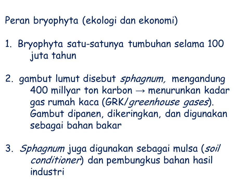 Peran bryophyta (ekologi dan ekonomi)