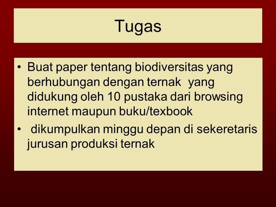 Tugas Buat paper tentang biodiversitas yang berhubungan dengan ternak yang didukung oleh 10 pustaka dari browsing internet maupun buku/texbook.
