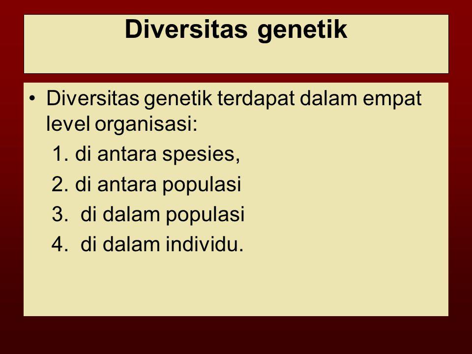 Diversitas genetik Diversitas genetik terdapat dalam empat level organisasi: 1. di antara spesies,