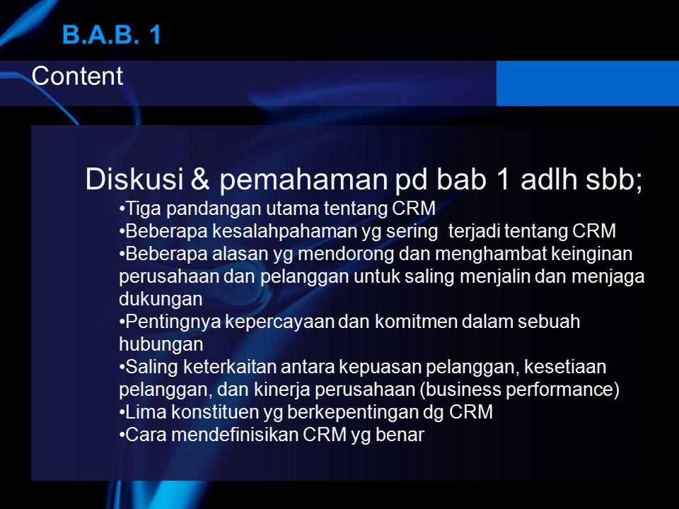 Diskusi & pemahaman pd bab 1 adlh sbb;