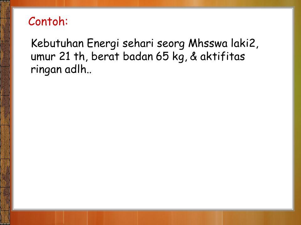 Contoh: Kebutuhan Energi sehari seorg Mhsswa laki2, umur 21 th, berat badan 65 kg, & aktifitas ringan adlh..