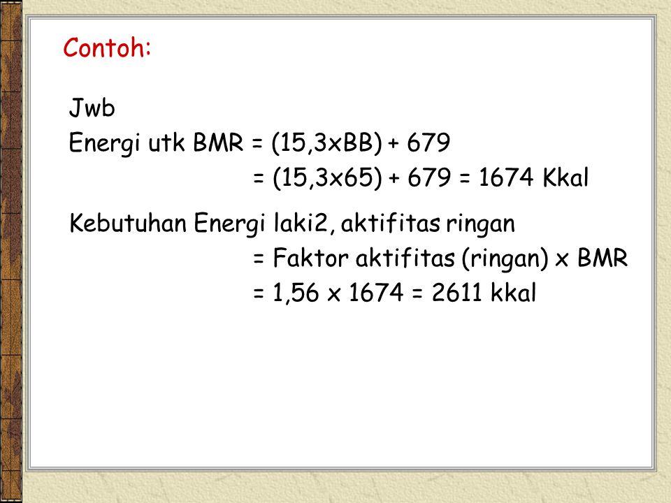 Contoh: Jwb Energi utk BMR = (15,3xBB) + 679