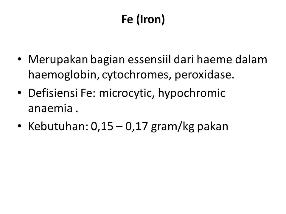 Fe (Iron) Merupakan bagian essensiil dari haeme dalam haemoglobin, cytochromes, peroxidase. Defisiensi Fe: microcytic, hypochromic anaemia .