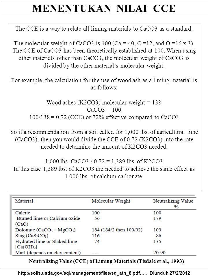 Neutralizing Value (CCE) of Liming Materials (Tisdale et al., 1993)