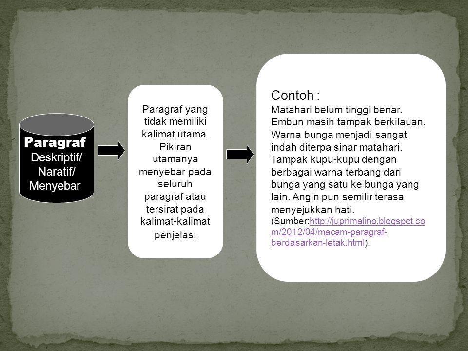 Contoh : Paragraf Deskriptif/ Naratif/ Menyebar