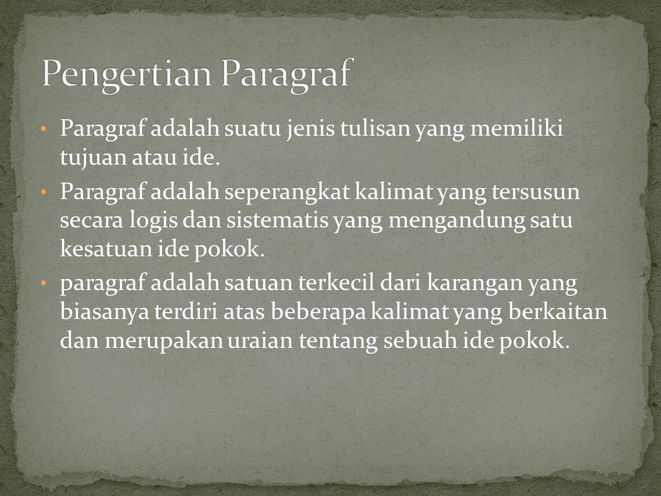 Pengertian Paragraf Paragraf adalah suatu jenis tulisan yang memiliki tujuan atau ide.