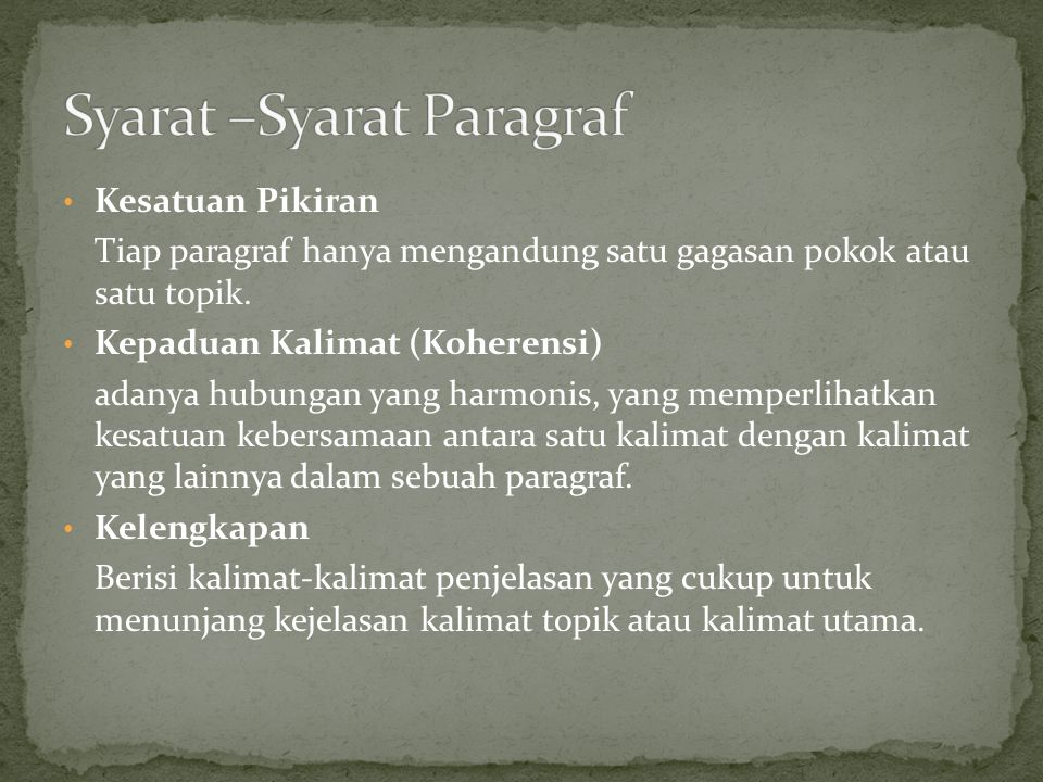 Syarat –Syarat Paragraf