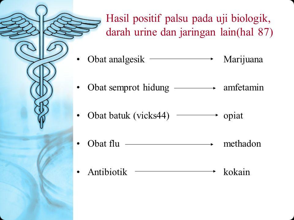 Hasil positif palsu pada uji biologik, darah urine dan jaringan lain(hal 87)