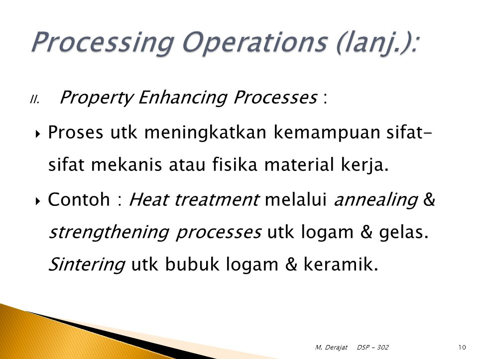 Processing Operations (lanj.):