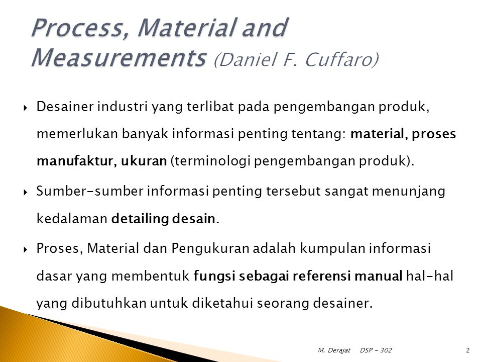 Process, Material and Measurements (Daniel F. Cuffaro)