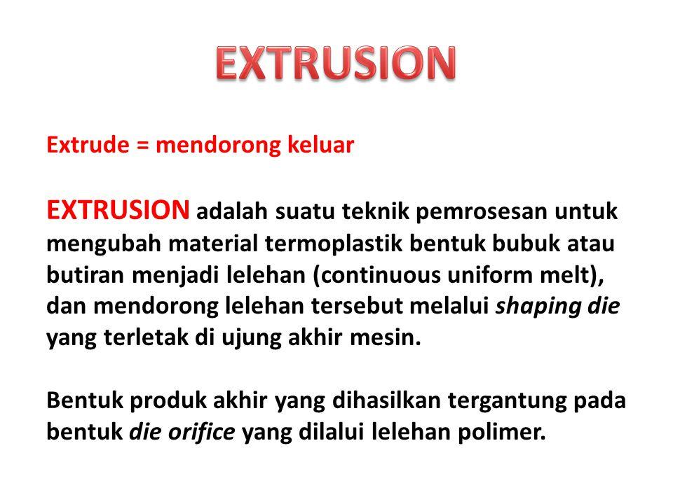 EXTRUSION Extrude = mendorong keluar.