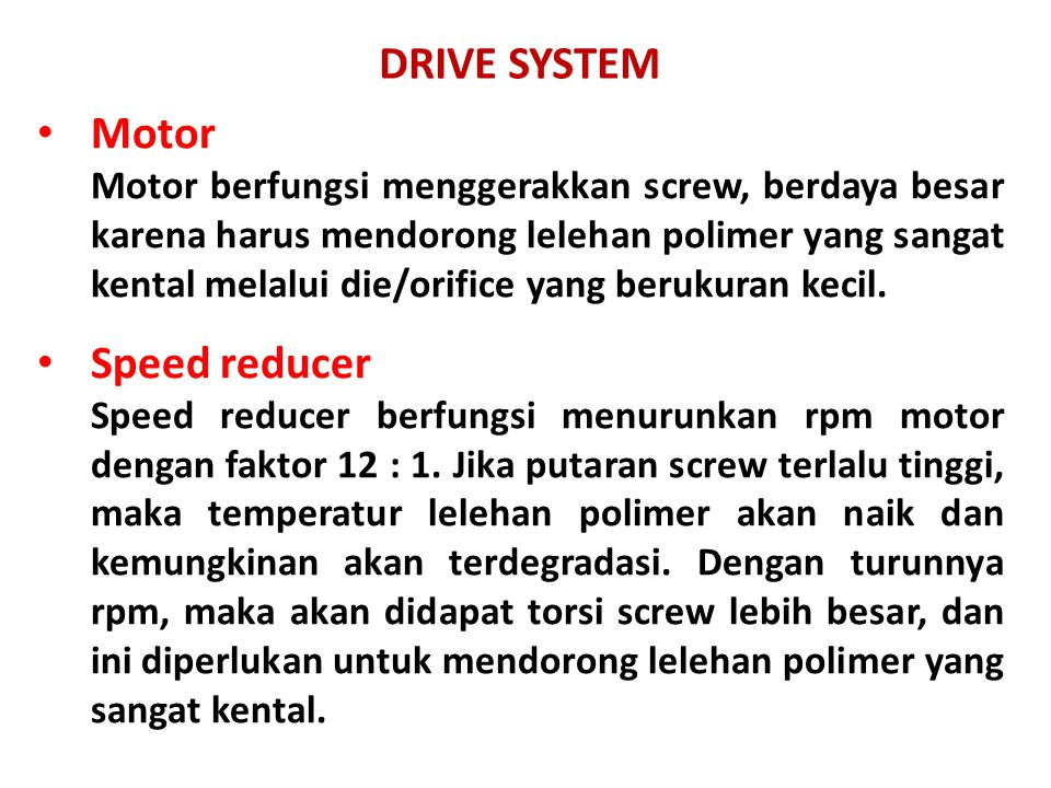 DRIVE SYSTEM Motor Speed reducer