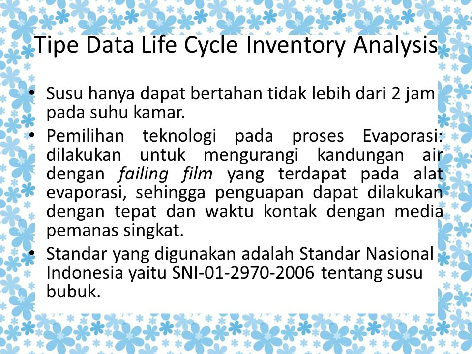 Tipe Data Life Cycle Inventory Analysis