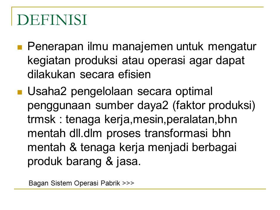 DEFINISI Penerapan ilmu manajemen untuk mengatur kegiatan produksi atau operasi agar dapat dilakukan secara efisien.