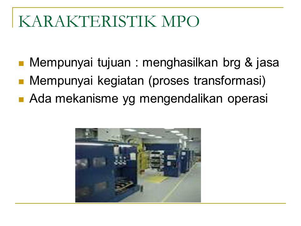 KARAKTERISTIK MPO Mempunyai tujuan : menghasilkan brg & jasa