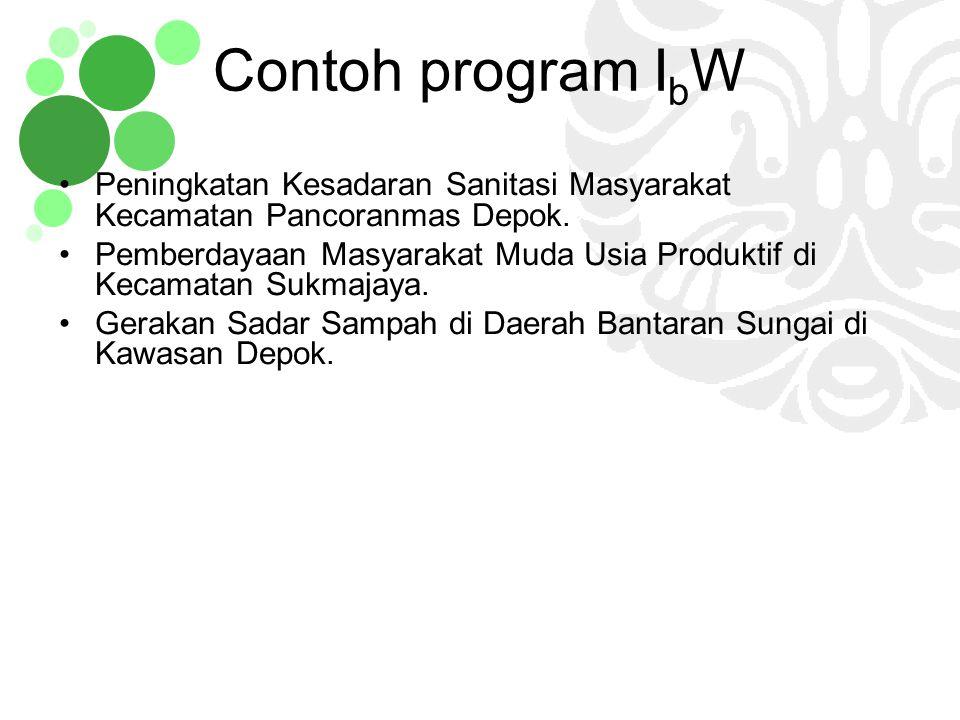 Contoh program IbW Peningkatan Kesadaran Sanitasi Masyarakat Kecamatan Pancoranmas Depok.