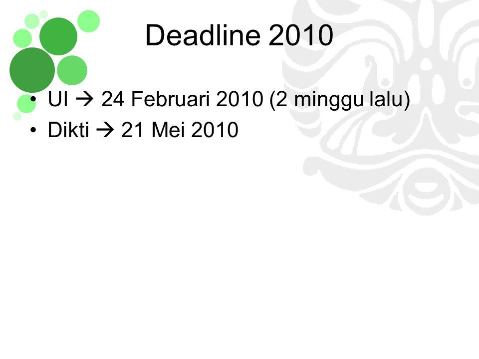Deadline 2010 UI  24 Februari 2010 (2 minggu lalu)