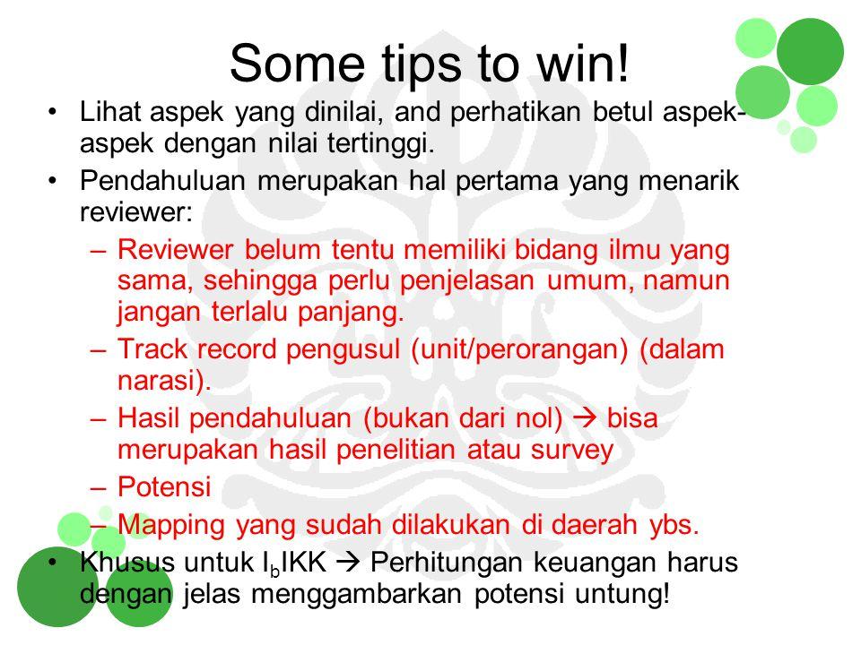 Some tips to win! Lihat aspek yang dinilai, and perhatikan betul aspek-aspek dengan nilai tertinggi.