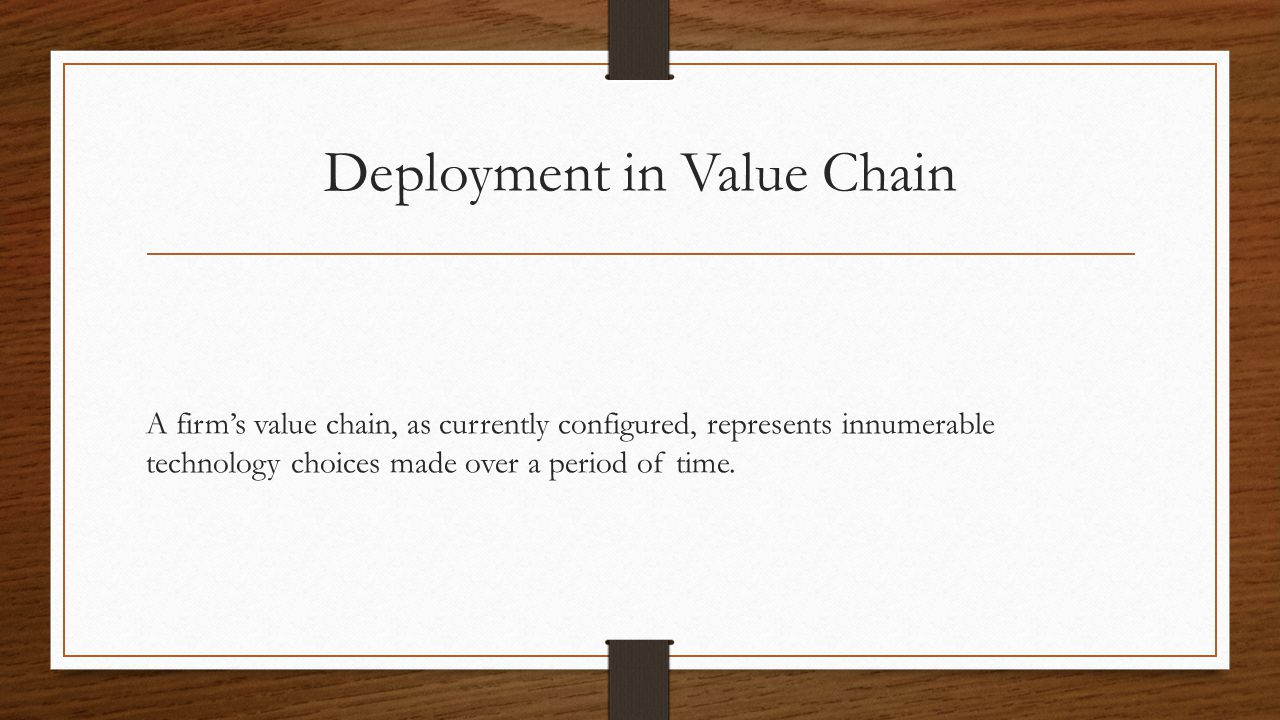 Deployment in Value Chain