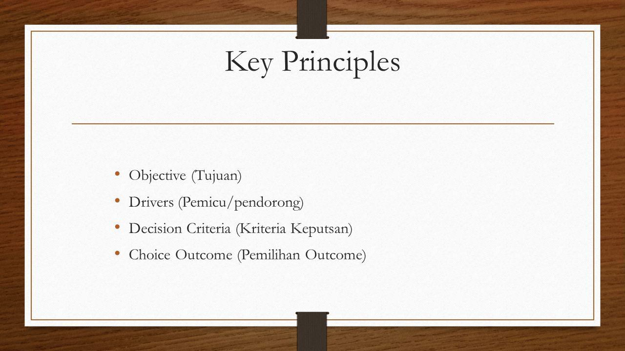 Key Principles Objective (Tujuan) Drivers (Pemicu/pendorong)