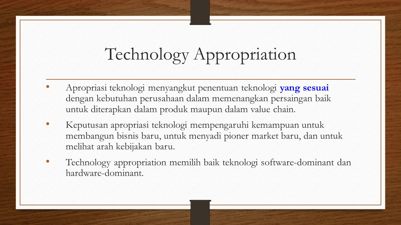 Technology Appropriation