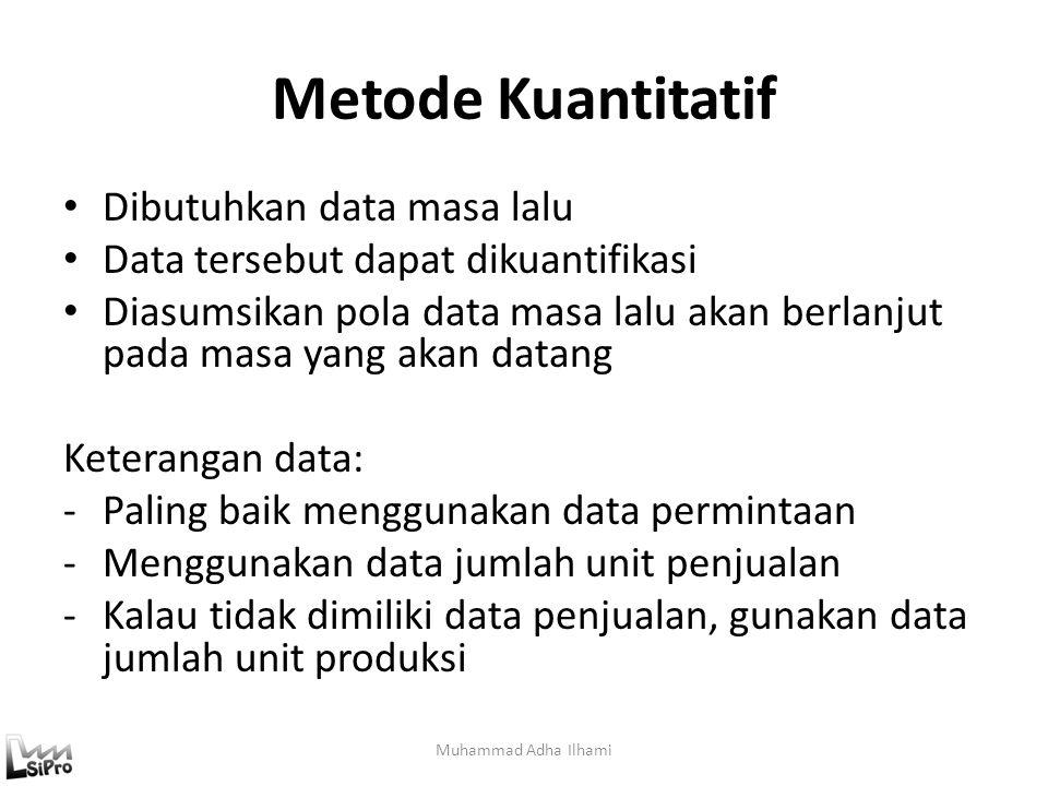 Metode Kuantitatif Dibutuhkan data masa lalu