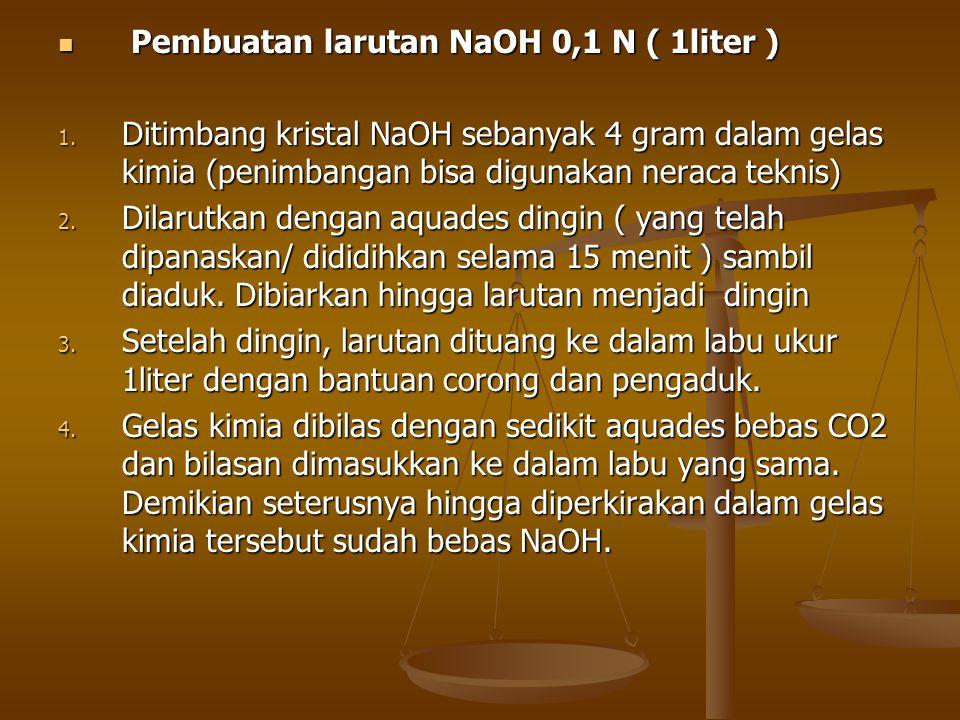 Pembuatan larutan NaOH 0,1 N ( 1liter )
