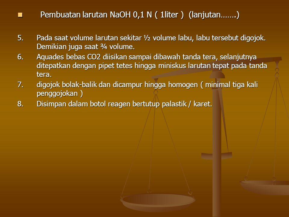 Pembuatan larutan NaOH 0,1 N ( 1liter ) (lanjutan…….)