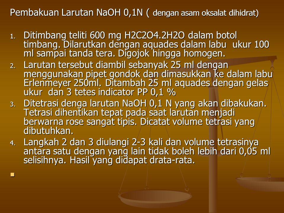 Pembakuan Larutan NaOH 0,1N ( dengan asam oksalat dihidrat)