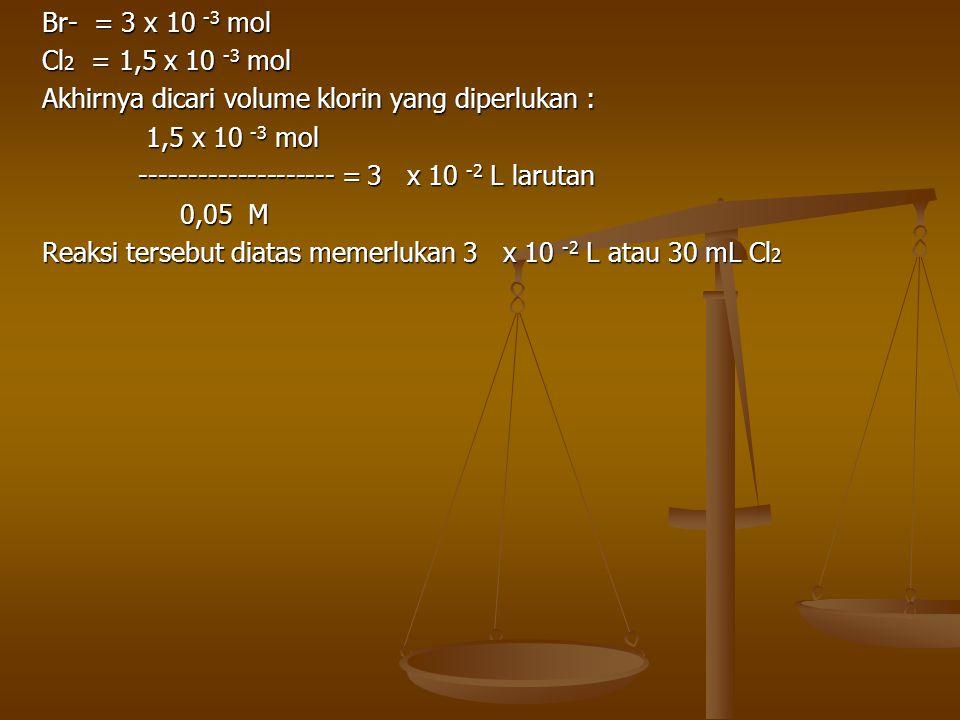 Br- = 3 x 10 -3 mol Cl2 = 1,5 x 10 -3 mol. Akhirnya dicari volume klorin yang diperlukan : 1,5 x 10 -3 mol.
