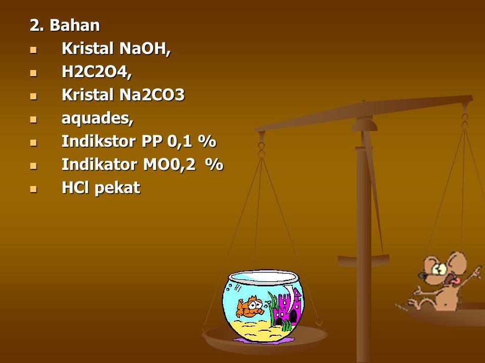 2. Bahan Kristal NaOH, H2C2O4, Kristal Na2CO3.