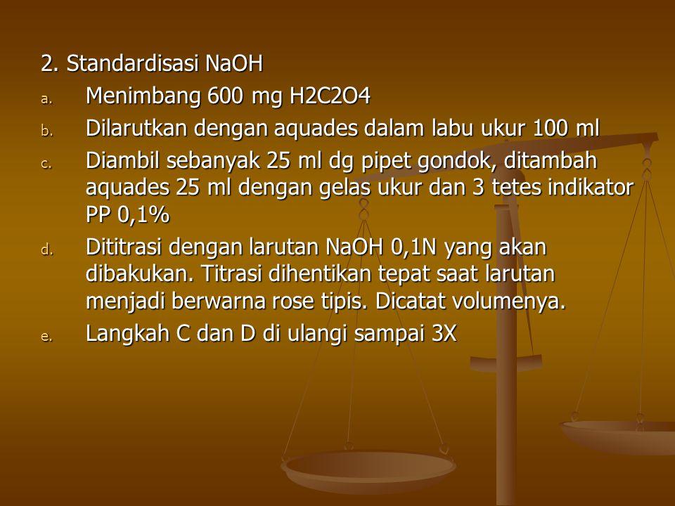 2. Standardisasi NaOH Menimbang 600 mg H2C2O4. Dilarutkan dengan aquades dalam labu ukur 100 ml.