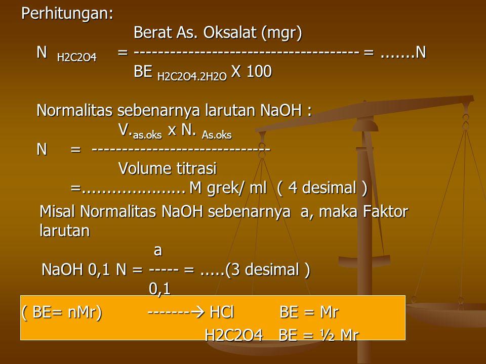 Perhitungan: Berat As. Oksalat (mgr) N H2C2O4 = -------------------------------------- = .......N.
