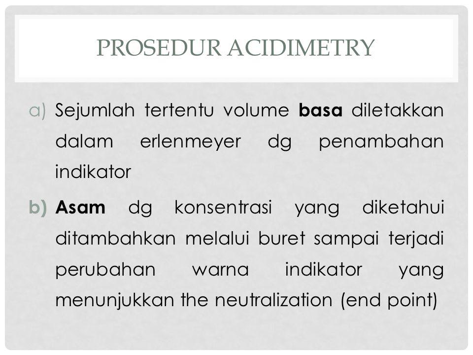 Prosedur acidimetry Sejumlah tertentu volume basa diletakkan dalam erlenmeyer dg penambahan indikator.
