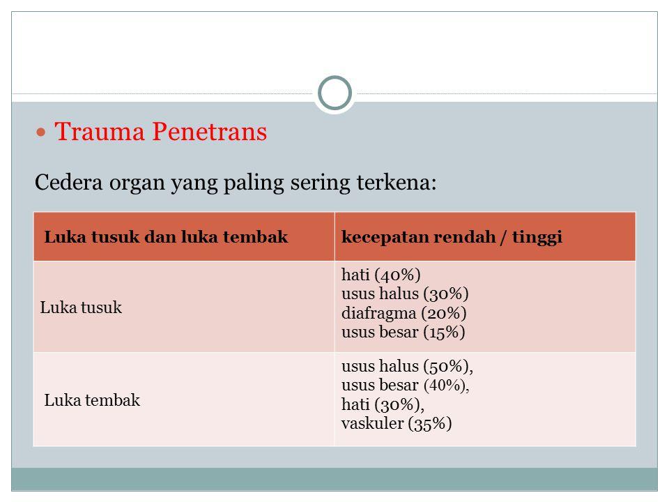 Trauma Penetrans Cedera organ yang paling sering terkena: