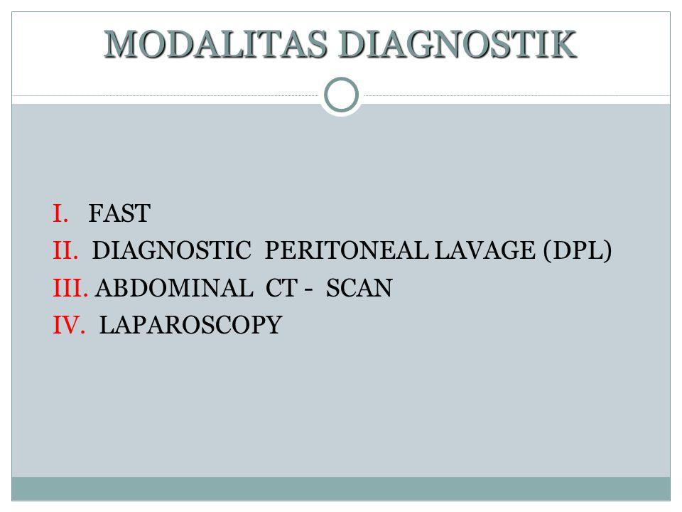MODALITAS DIAGNOSTIK I. FAST II. DIAGNOSTIC PERITONEAL LAVAGE (DPL)