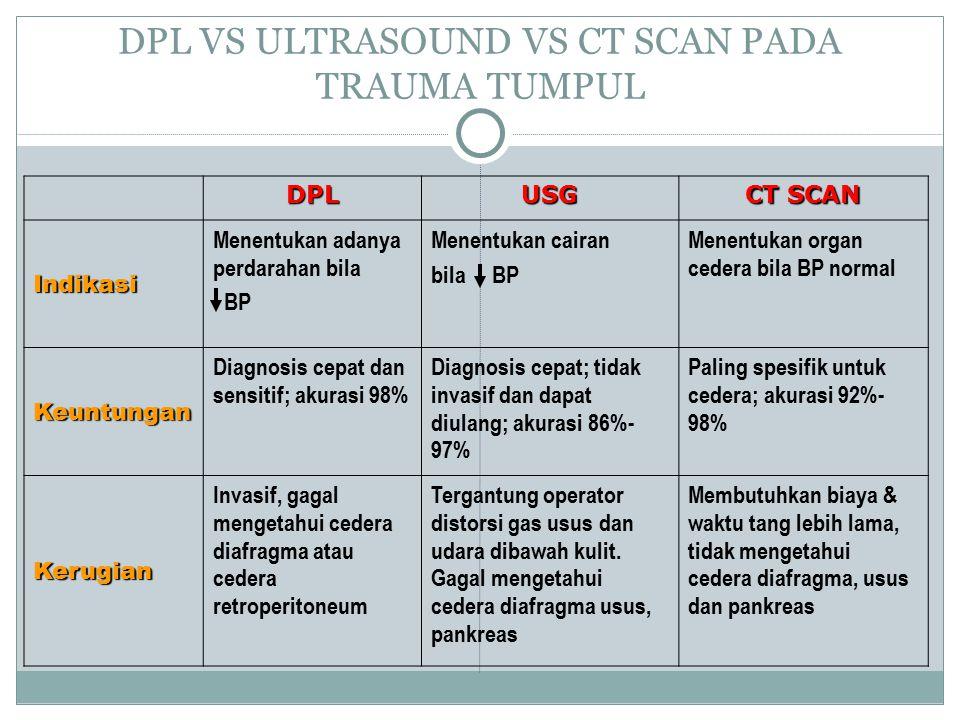 DPL VS ULTRASOUND VS CT SCAN PADA TRAUMA TUMPUL