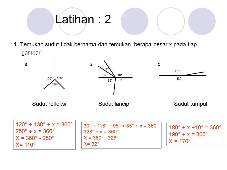 Latihan : 2 1. Temukan sudut tidak bernama dan temukan berapa besar x pada tiap. gambar. a. 130°