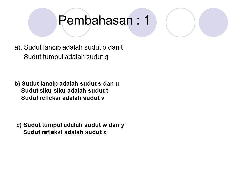 Pembahasan : 1 a). Sudut lancip adalah sudut p dan t