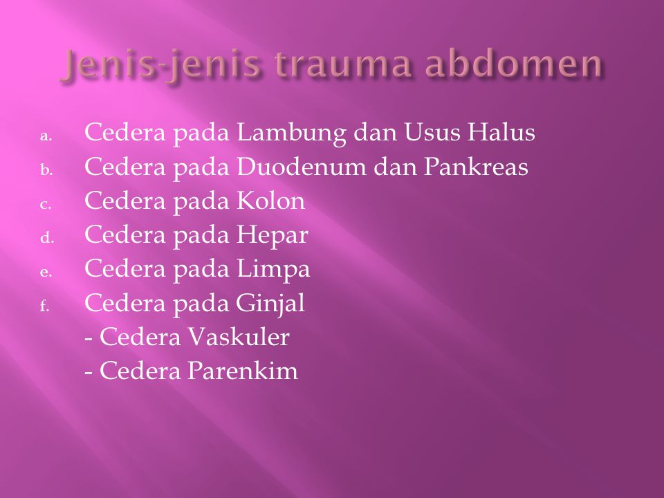 Jenis-jenis trauma abdomen