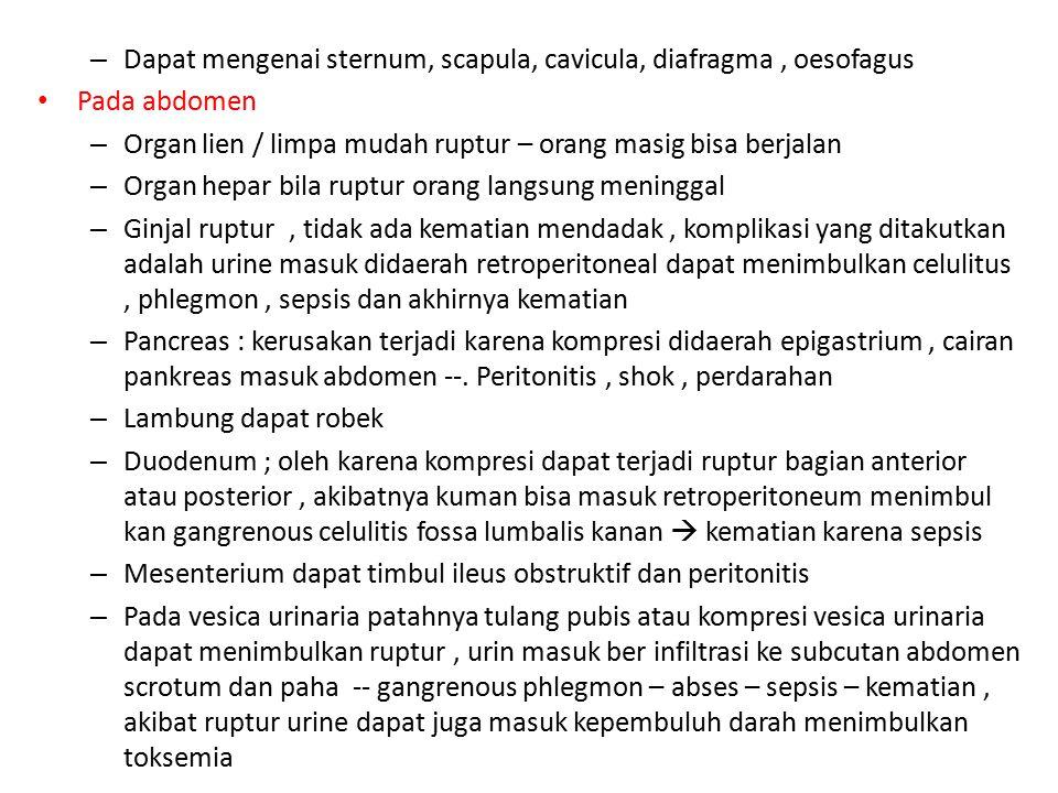 Dapat mengenai sternum, scapula, cavicula, diafragma , oesofagus
