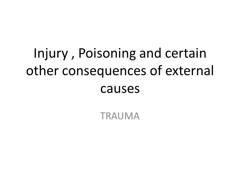 Injury , Poisoning and certain other consequences of external causes