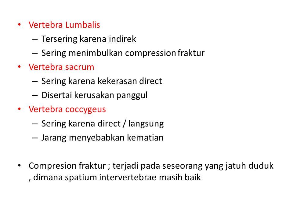 Vertebra Lumbalis Tersering karena indirek. Sering menimbulkan compression fraktur. Vertebra sacrum.