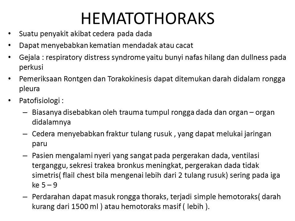 HEMATOTHORAKS Suatu penyakit akibat cedera pada dada