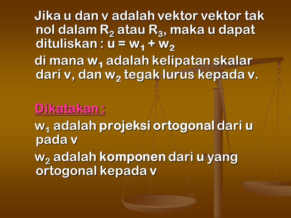 Jika u dan v adalah vektor vektor tak nol dalam R2 atau R3, maka u dapat dituliskan : u = w1 + w2
