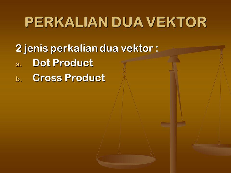 PERKALIAN DUA VEKTOR 2 jenis perkalian dua vektor : Dot Product